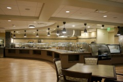 Broad view of kitchen area and service line
