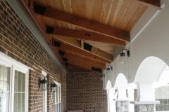 Timber framing at covered walkway